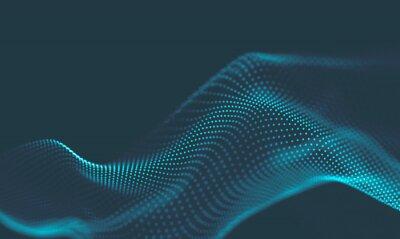 Väggdekor  Abstract Music background. Big Data Particle Flow Visualisation. Science infographic futuristic illustration. Sound wave. Sound visualization