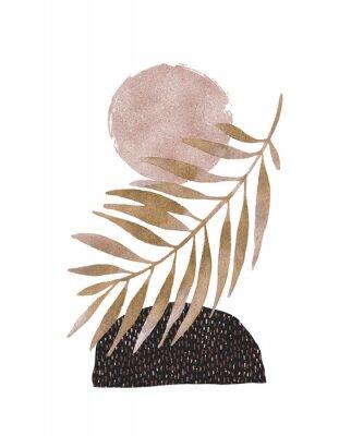 Väggdekor Abstract poster design: minimal shapes, glossy golden tropical leaf.