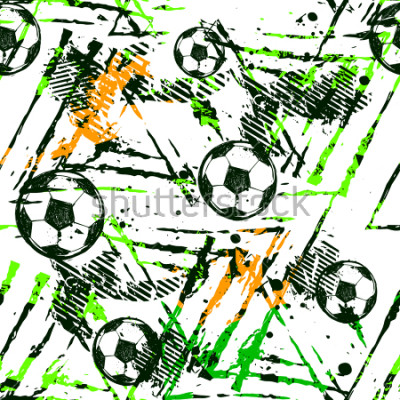 Väggdekor Abstract seamless football pattern. Sport game wallpaper. Set of Soccer ball on grunge urban background,curved lines, shabby shape texture,  spray paint ink elements. boy repeated backdrop