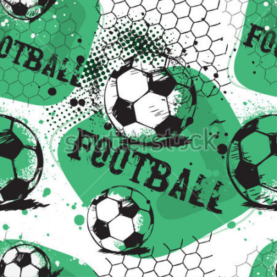 Väggdekor Abstract seamless pattern for boys. Football pattern. Grunge urban pattern with football ball. Sport wallpaper on white background with black and green. Repeated sport pattern.