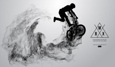 Väggdekor Abstract silhouette of a bmx rider on the white background from particles, dust, smoke, steam. Bmx rider jumps and performs the trick. Background can be changed to any other. Vector illustration