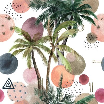Väggdekor Abstract tropical pattern with palm trees. Watercolor seamless print. Geometric summer background