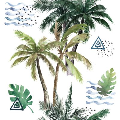 Väggdekor Abstract tropical pattern with  palm trees. Watercolor seamless print. Jungle summer  background
