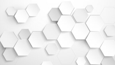Väggdekor Abstract white hexagon background. Vector Illustration