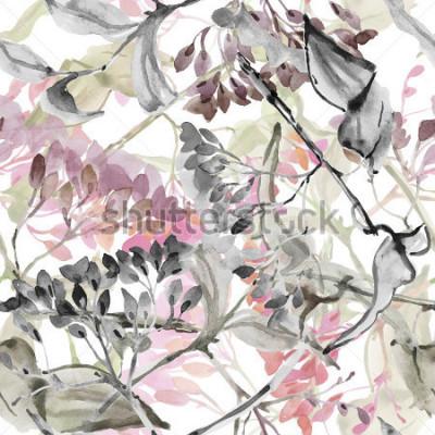 Väggdekor Abstracta blommor. Akvarell sömlös mönster.