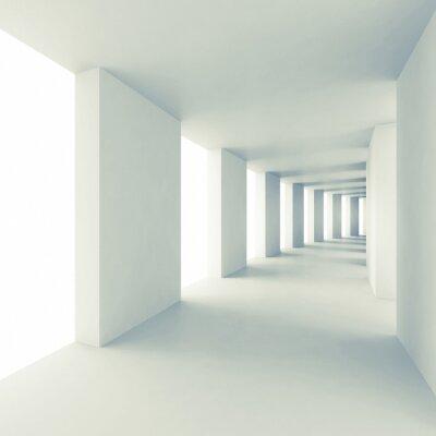 Väggdekor Abstrakt arkitektur 3d bakgrund, tom vit korridor