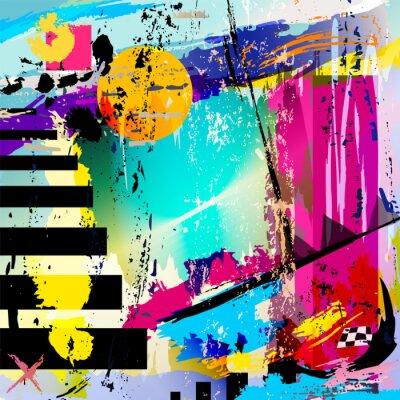 Väggdekor abstrakt bakgrund med fyrkanter, trianglar, penseldrag och
