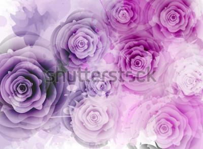 Väggdekor Abstrakt bakgrund med rosor och grunge stänk element
