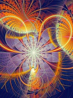 Väggdekor Abstrakt datorgenererad bild randig blomma