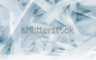 Väggdekor Abstrakt digital bakgrund, blå och vita kaotiska balkar polygonal mönster. Blå tonad illustration 3d, datordiagram