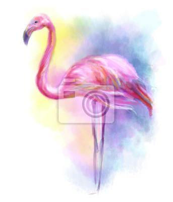 Väggdekor Abstrakt flamingo rosa illustration