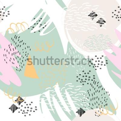 Väggdekor Abstrakt geometrisk bakgrund med penselsträckor i Memphis stil. Vektor sömlöst mönster med handdragen element. Ljus pastellfärger.