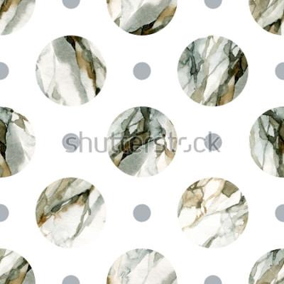 Väggdekor Abstrakt geometrisk bakgrund. Vattenfärg marmormålning. Akvarell cirkel sömlös mönster. Cirklar med vattenfärgmarmorering, kornad, papperstekstur. Handmålad illustration