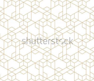 Väggdekor Abstrakt geometrisk mönster med korsning tunna gyllene linjer på vit bakgrund. Sömlös linjär rapport. Snygg fraktalstruktur. Vektormönster för att fylla bakgrunden, lasergravering och skärning.
