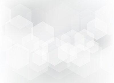 Väggdekor Abstrakt geometrisk sexkantig överlagsmönster på vit och grå bakgrund.