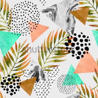 Väggdekor Abstrakt geometrisk sömlös modell för sommar. Trianglar med palmblad- och marmorgrungetexturer. Abstrakt geometrisk bakgrund i popart för retro tappning 80-90-tal. Handritad naturlig sommarillustratio