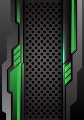 Väggdekor Abstrakt grön mörkgrå futuristisk på cirkel mesh design modern futuristisk bakgrund vektor illustration.