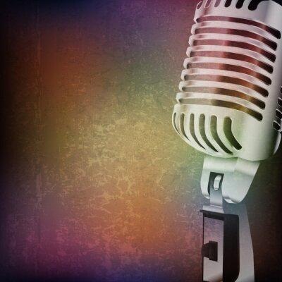 Väggdekor abstrakt grunge bakgrund med retro mikrofon