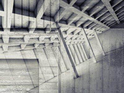 Väggdekor Abstrakt interiör med tomt rum och betong