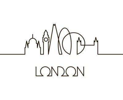 Väggdekor abstrakt linjär illustration av London City på vit bakgrund