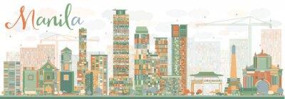 Väggdekor Abstrakt Manila horisont med färg byggnader.