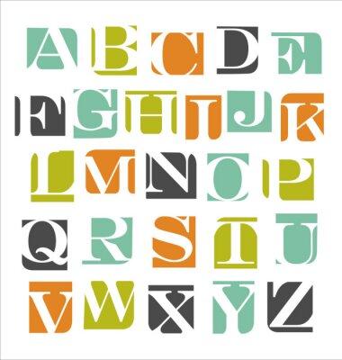 Väggdekor abstrakt modern alfabet affisch