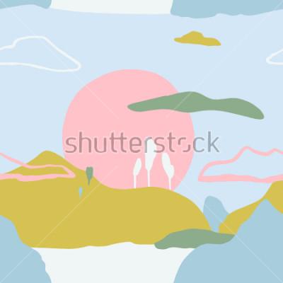Väggdekor Abstrakt monster med solnedgång på bergen. Konstnärlig samtida natur sömlös konsistens. Klar designidéer för affisch, trendy kort, inbjudan, skylt, broschyr, flygblad, presentation och mer.