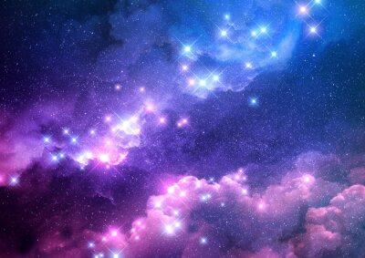 Väggdekor Abstrakt rosa och blå galax bakgrund fylld med ljusa stjärnor. Raster illustration.
