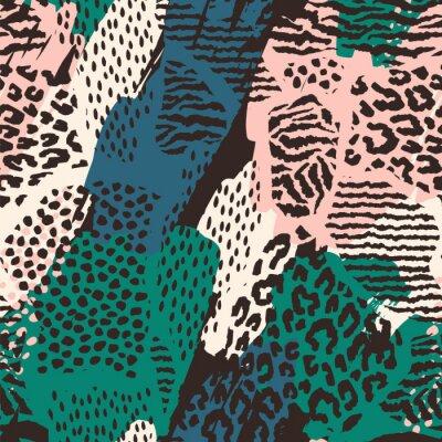 Väggdekor Abstrakt sömlöst mönster med djurtryck.