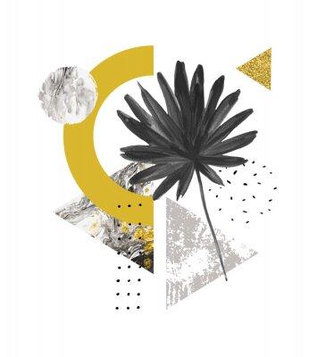 Väggdekor Abstrakt sommar geometriska former, exotiskt blad. Trianglar fyllda med marmor, grunge texturer, klotter, vattenfärgfläkt palmblad. Handmålade geometriska konstillustrationer i modern minimal stil