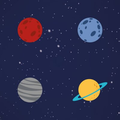 Väggdekor Abstrakt tecknad planeter