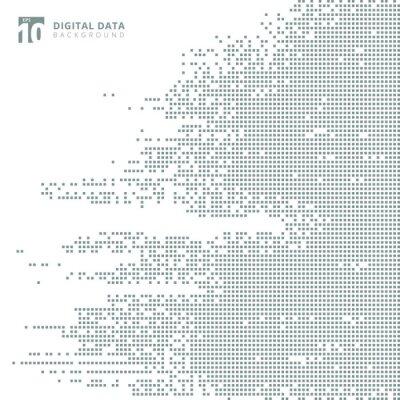 Väggdekor Abstrakt teknologi digital data kvadrat gråmönster pixel bakgrund.