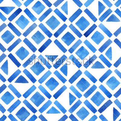 Väggdekor Abstrakt vattenfärg geometriska plattor. Seamless mönster i blått