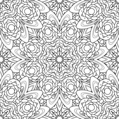 Väggdekor Abstrakt vektor dekorativa etnisk mandala svartvit seamless.