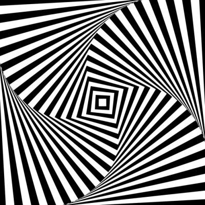 Väggdekor Abstrakt vektor optisk illusion i svartvitt