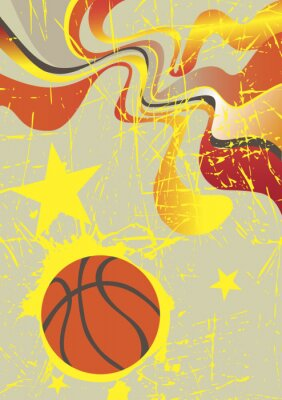 Väggdekor Abstrakt vertikal basket banderoll med gula stjärnor
