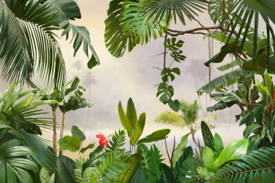 Väggdekor adorable background design with tropical palm and banana leaves, can be used as background, wallpaper