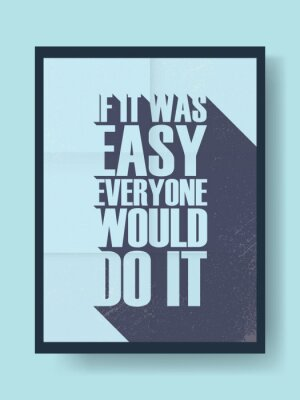 Väggdekor Affärs motivational affisch om hårt arbete kontra lättja på vintage vektor bakgrund. Lång skugga typografi meddelande
