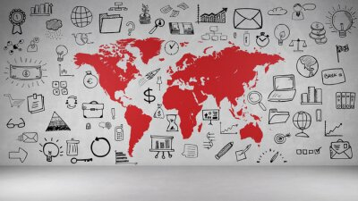 Väggdekor Affärs Symbole en Wand mit Weltkarte