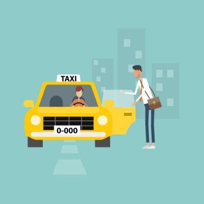 Väggdekor affärsman få taxi gå till jobbet affärer i staden