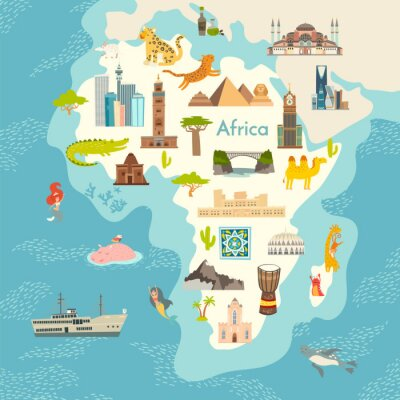 Väggdekor Africa continent, world map with landmarks vector cartoon illustration. Abstract African landmarks, animals, sign and icon cartoon style.  Poster, art, travel card