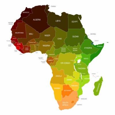 Väggdekor Afrika kartlägger Färgade Länder Former