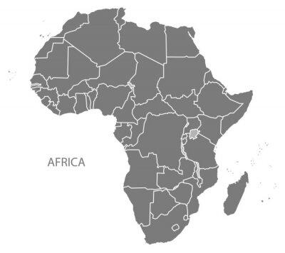 Väggdekor Afrika kartlägger med länder grå