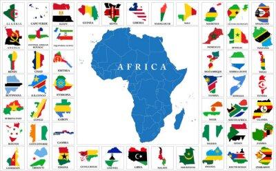 Väggdekor Afrika länder flagga kartor