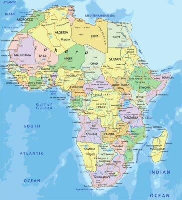 Väggdekor Afrika - Mycket detaljerade redigerbar politiska kartan.