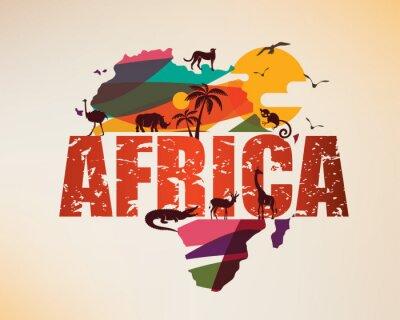 Väggdekor Afrika resekarta, dekorativ symbol för Afrikakontinent med vilda djur silhuetter