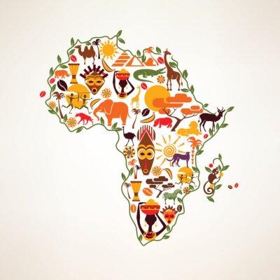 Väggdekor Afrika resekartan, decrative symbol för Afrika kontinenten med eth