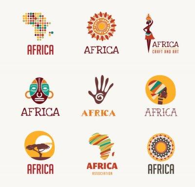 Väggdekor Afrika, Safari ikoner och elementet set