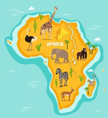 Väggdekor Afrikanska djur djurliv vektorillustration. Afrikanska djur, struts, giraff, elefant, apa, zebra, lemur, antiloper i tecknad stil. Afrikanska kontinenten i blått hav med vilda djur och växter