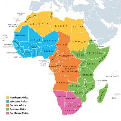 Väggdekor Afrikas regionala politiska karta med enskilda länder. FN-geoscheme. Norra, västra, centrala, östra och södra Afrika i olika färger. Engelsk märkning Illustration. Vektor.